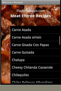 Mexican recipe menu